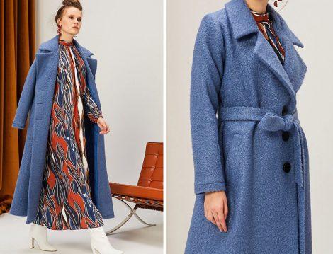 Kevser Sarıoğlu Mavi Palto