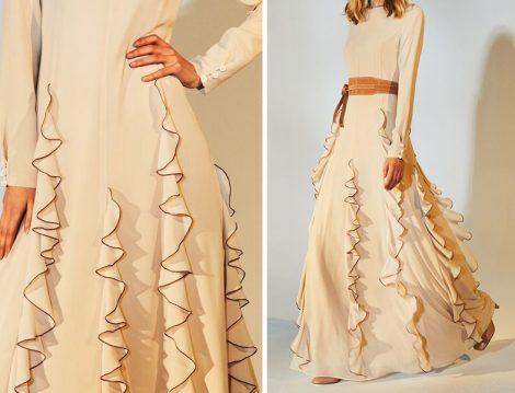 Latifa Şerit Volanlı Elbise