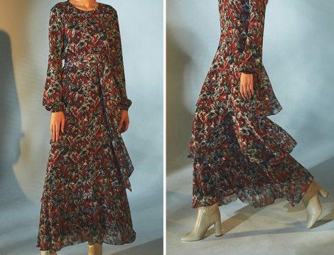 Latifa Bordo Desenli Elbise