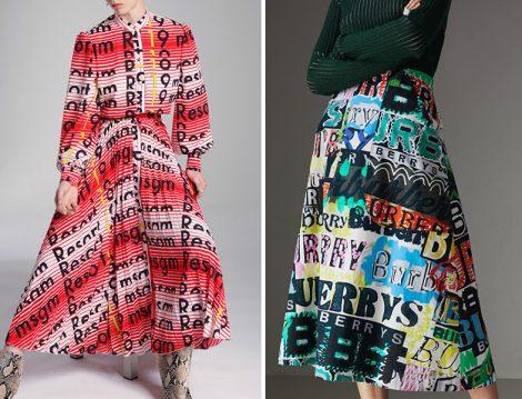 MSGM Logolu Elbise ve Burberry Logolu Etek