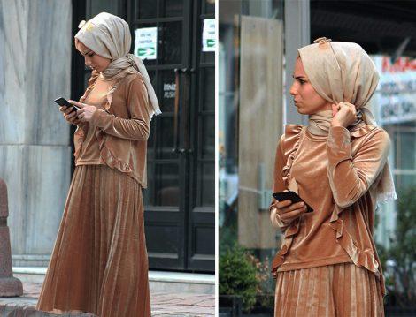 Melike Tatar Kadife Etek ve Bluz Takım