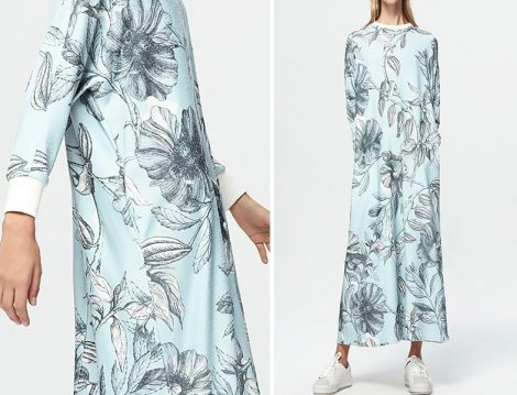 Pure Yaprak Desenli Elbise
