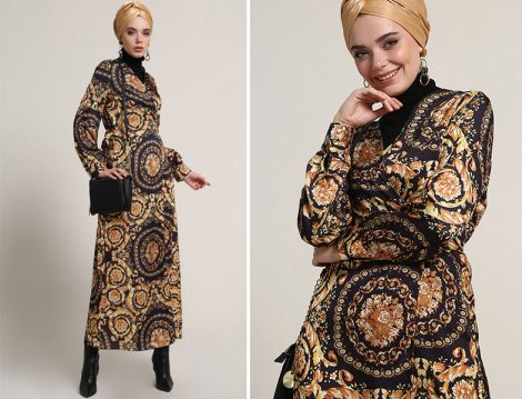 Refka Siyah Sarı Desenli Anvelop Elbise