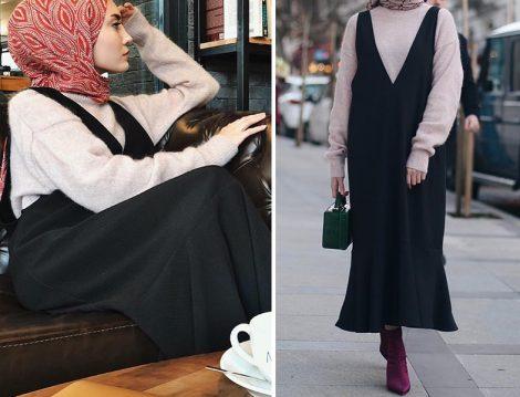 Siyah Jile Elbise ve Boğazlı Kazak