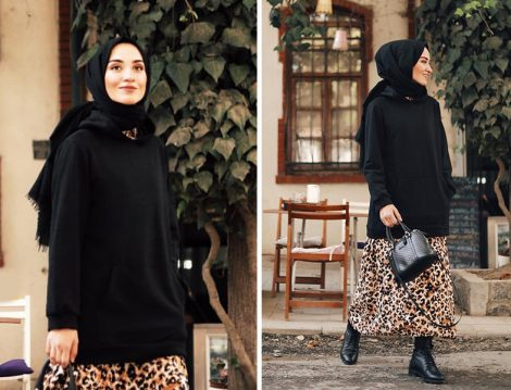 Suud Collection Leopar Desen Elbise ve Siyah Sweatshirt
