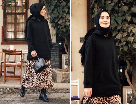 Suud Collection Leopar Elbise ve Siyah Sweatshirt Modeli