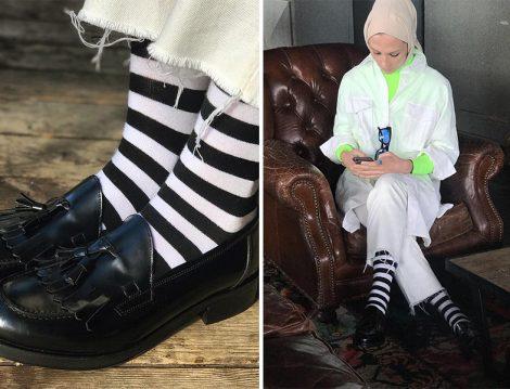 Çizgili Çorap ve Makosen Ayakkabı