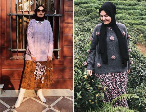 Etek/Elbise ve Kazak Kombinleri
