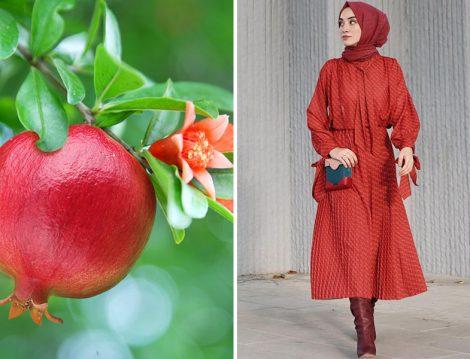 Kevser Sarıoğlu Nar Kırmızısı Elbise