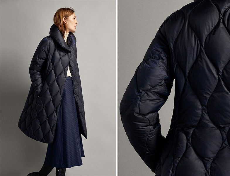 Massimo Dutti Dikişli Uzun Kuş Tüy Mont