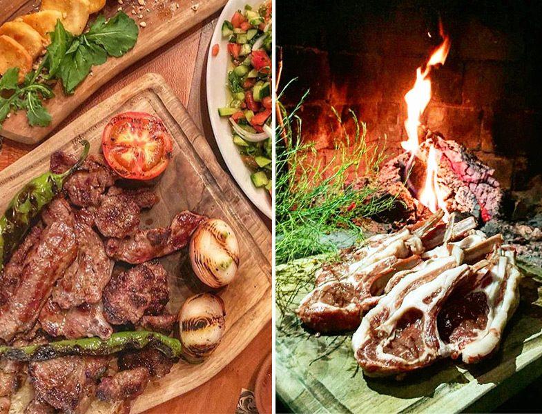 Mengen Çiftlik Et Mangal Şömine Başında Et Pişirme ve Yemek