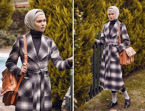 Nihan Ekose Desen Palto Modeli