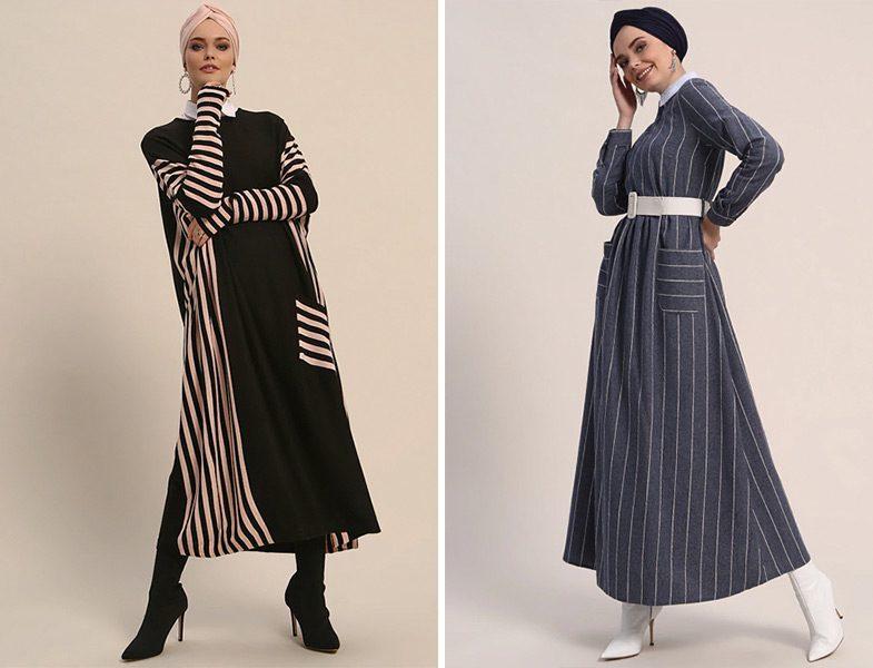 Refka Çizgili Tesettür Elbise Modelleri