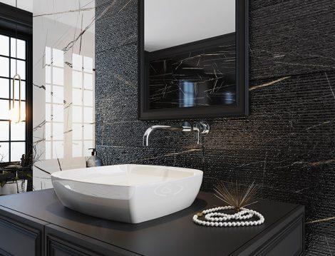 Seramiksan Siyah Beyaz Banyo Dekorasyonu