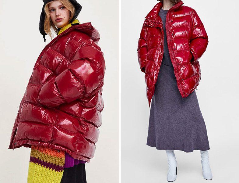 Zara Vinil Görünümlü Şişme Mont