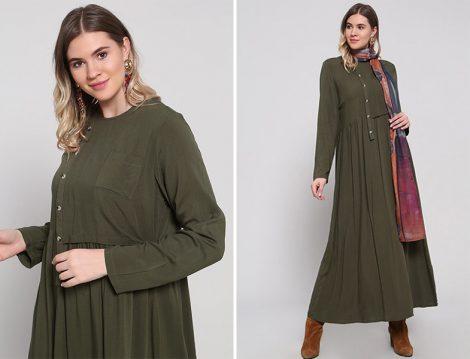 Alia Doğal Kumaşlı Düğme Detaylı Elbise
