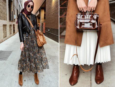 Desenli Elbise-Deri Ceket ile Süet Trençkot-Piliseli Etek Kombini