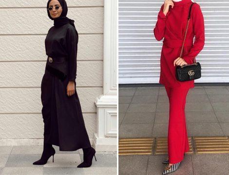 Hilala Oğuzkan Siyah Elbise ve Kırmızı İkili Takım