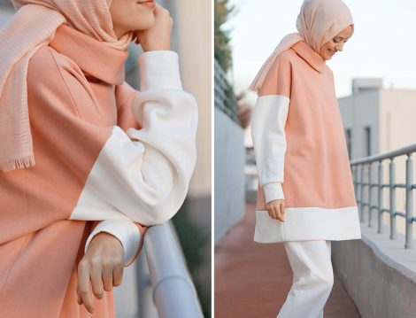 Kadriye Baştürk Pembe Beyaz Sweatshirt
