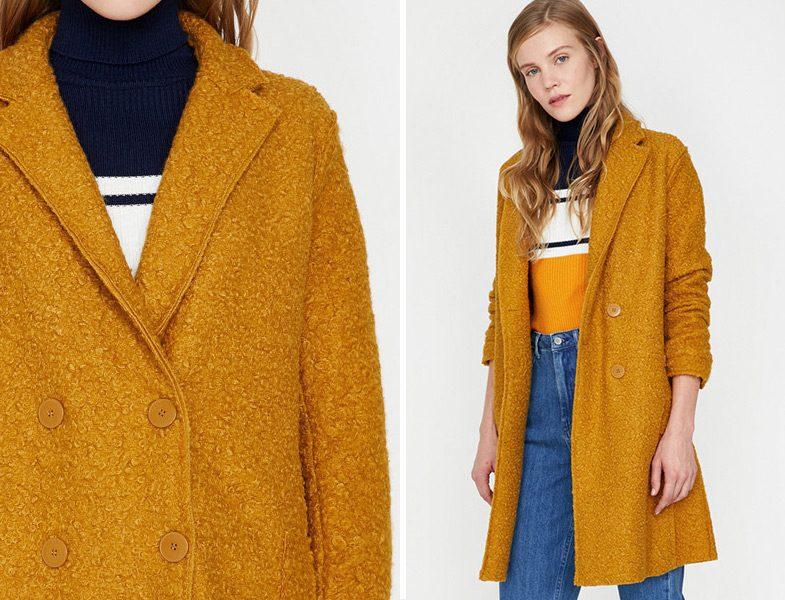Koton Sarı Cep Detaylı Ceket