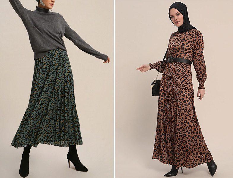 Refka Leopar Desenli Etek ve Elbise Modelleri