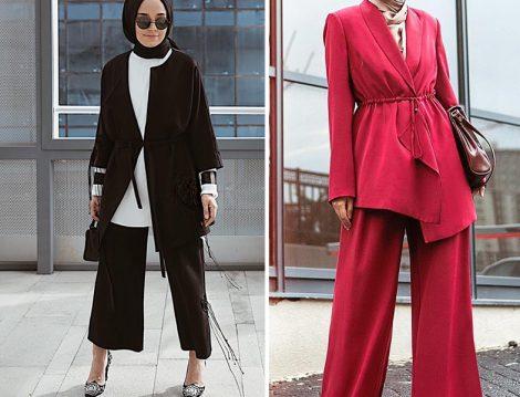 Siyah-Beyaz ve Kırmızı Pantolon Ceket İkili Takım