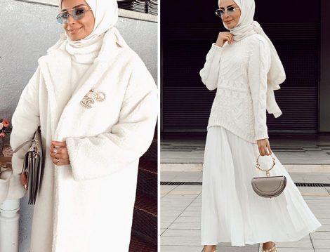 Beyaz Manto- Etek ve Triko Modeli