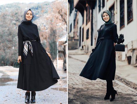 Elif Eser Siyah Etek ve LC Waikiki Siyah Elbise