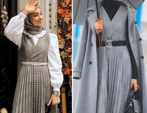 Vesna Design Ekose Desen Piliseli Jile Elbise