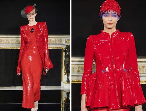 Armani 2019 İlkbahar Yaz Couture Koleksiyonu Kırmızı Vinil Ceket
