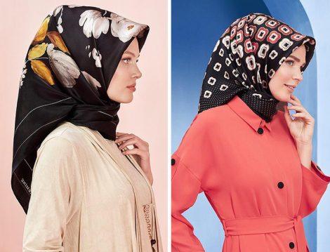 Armine 2019 İlkbahar Yaz Siyah Desenli Eşarp Modelleri