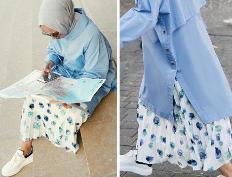 Cloche Mavi Tunik - Çiçekli Etek
