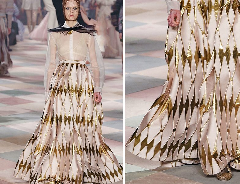 Christian Dior 2019 İlkbahar Yaz Altın Detaylı Kabarık Etek