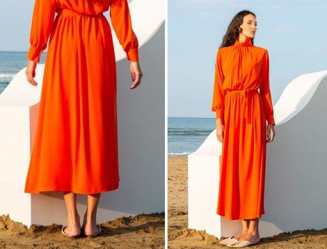 Kadriye Baştürk 2019 İlkbahar Yaz Büzgülü Krep Elbise