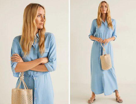 Mango 2019 İlkbahar Yaz Mavi Denim Elbise