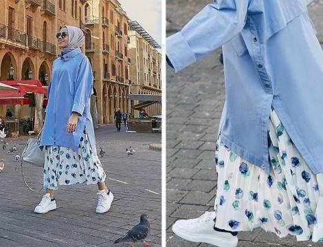 Mavi Tunik - Beyaz Desenli Etek Kombini