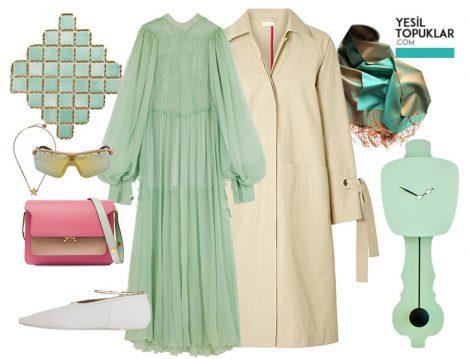 Mint Yeşili Elbise ve Bej Trençkot Kombini