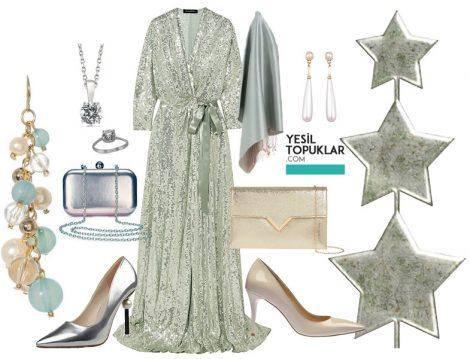 Mint Yeşili Işıltılı Tesettür Abiye Elbise Kombini