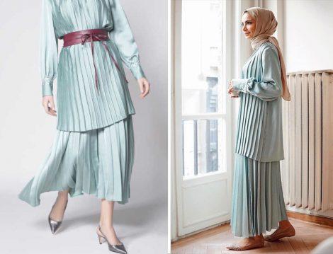 Nove Koleksiyon 2019 İlkbahar Yaz Çağla Plise Tunik ve Etek