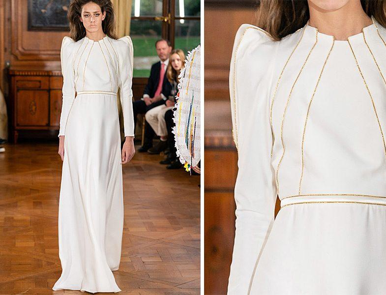Ronald van der Kemp 2019 İlkbahar Yaz Couture Beyaz Omuz Detaylı Elbise
