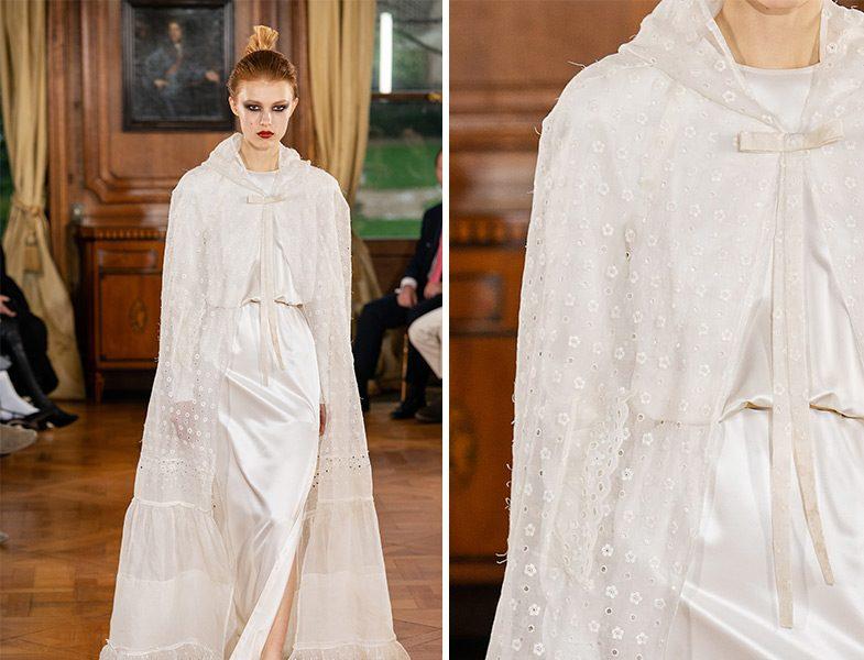 Ronald van der Kemp 2019 İlkbahar Yaz Couture Beyaz Pelerin Detaylı Elbise