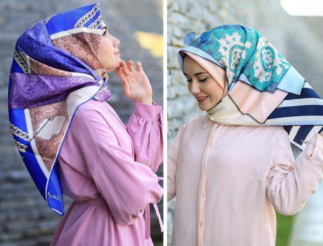 Silk Home Mavi Desenli Eşarp Modelleri