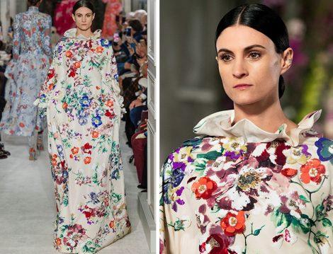 Valentino 2019 İlkbahar – Yaz Couture Koleksiyonu Çiçek Desenli Gece Elbisesi