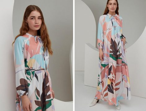 Aybikestill Desenli Elbise