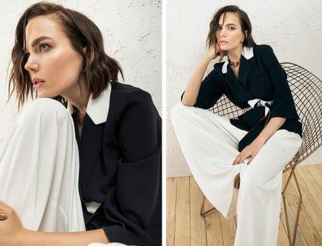 Berrin İstanbul 2019 Siyah Beyaz Pantolon Ceket Takım