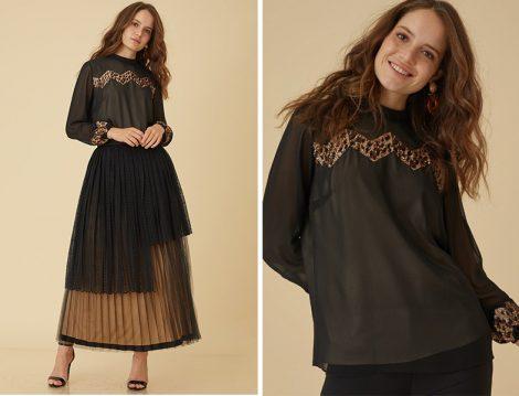 Kayra 2019 İlkbahar Yaz Siyah Dantel ve Tül Detaylı Etek ile Siyah Önü Pullu Bluz