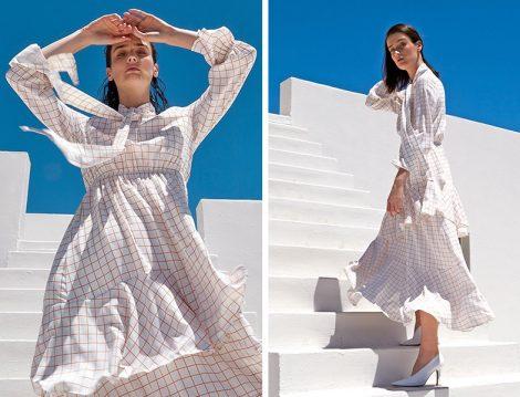 Kevser Sarıoğlu 2019 Beyaz Kareli Elbise