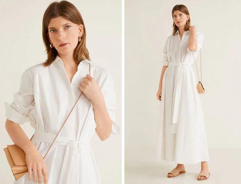 Mango 2019 Yaz Beyaz Uzun Elbise