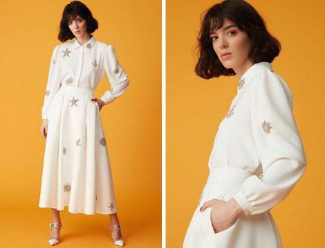 Nihan Peker 2019 İlkbahar Yaz Beyaz Gömlek ve Etek Modelleri