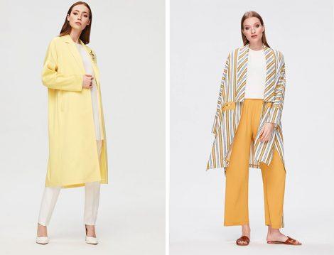 Pure 2019 İlkbahar Yaz Sarı Keten Kap Modelleri